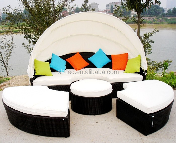 High quality cheap custom all weather outdoor rattan sun bed