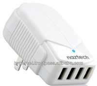 Naztech N240 4A Quad 4 Port USB Travel Charger - White