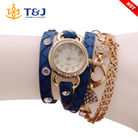 2016 Wholesale elegant fashoin quartz chain watch gold plated heart shaped lady wrist watch for lover