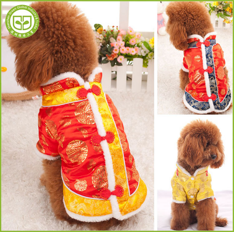 PDCSA66 Hot Style Puppy Jacket Chinese New Year Clothing Dog Winter Coats Tang Suit