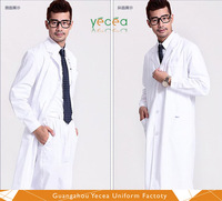 Customize LOGO Unisex White 100% cotton medical overalls doctor chemical HealthCare coat hospital uniforms with belt