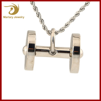 Female Fashion Sports Jewelry Bodybuilding Necklace Dumbbell Barbell Pendant