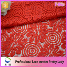 2016 Best sale red color 3d bridal lace fabric wholesale for wedding dress