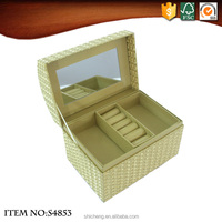 Luxury gold large mirror double layers Specialty paper jewelry box