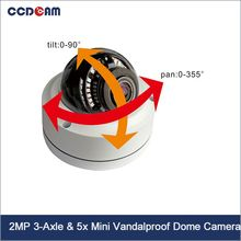 1080P 5X Optical Zoom Auto Focus 3-Axis&5X PTZ Mini Dome ip Camera