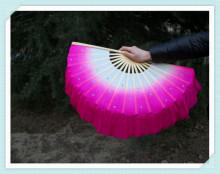 New Belly Dance Bamboo Fan Long Silk Fabric Chinese Fan Dance Fans