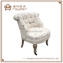 French Country Style Script Fabric Upholstery Leisure Chair with Casters