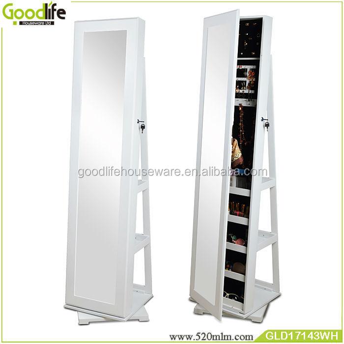 Rotating floor stand cosmetic shelf floor mirror jewelry armoire ...