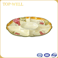 Oval 5 compartments ceramic fruit kitchen dish and plate made in China Wholesale