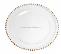 2015 hot selling beaded glass charger plate for wedding use