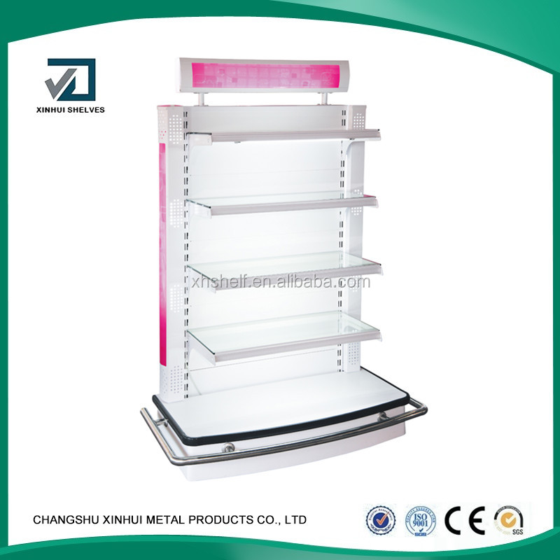 Retail Shop Used Combined Glass Acrylic Cosmetic Display Rack, Cosmetic Display Shelf