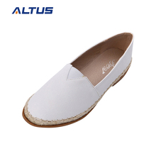 Ijoy High quality pictures white PU casual leather ladies shoes