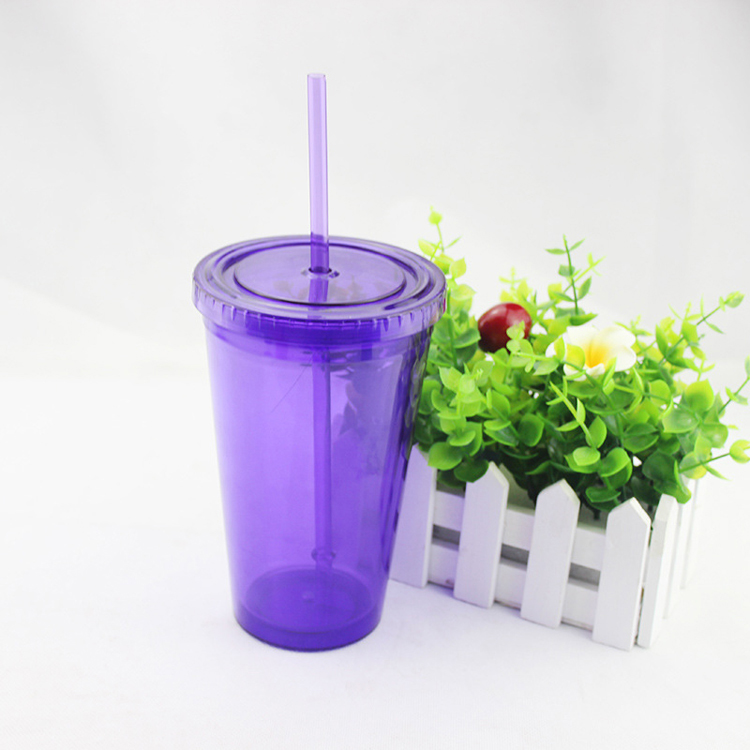 Double Wall Clear Plastic Water Cup With lids and straw