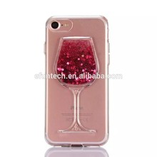 Low price shining glitter red wine cup liquid sand TPU gel cell phone cover for iphone 5 5S SE case