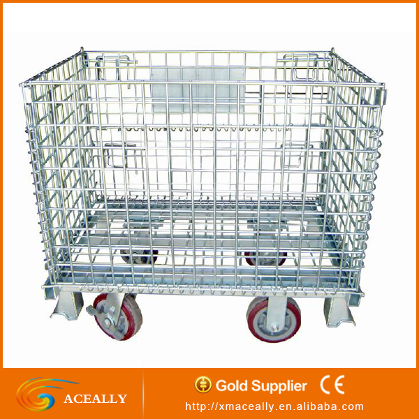 Industrial Warehouse Roll Metal Storage Cage for transport with cover lids