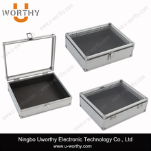 High Quality Aluminum Tool Box with Clear Lid, 2015 Hot Sale Aluminum Jewelry Watch Dispaly Box