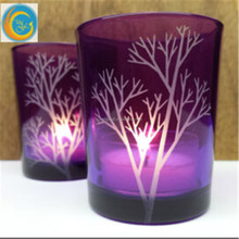 Purple Candle Holders Hand Engraved Glass 'Tree Branch' Party Decor Wedding Favors