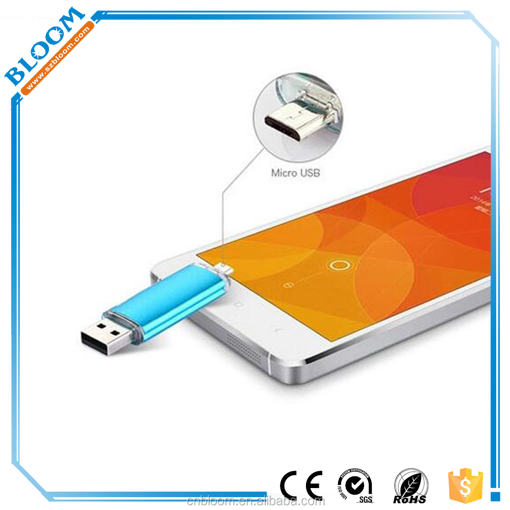 2016 New Product Metal Flash Drive USB 8gb 16gb 32gb 64gb Otg Usb Flash Drive For Smart Phone