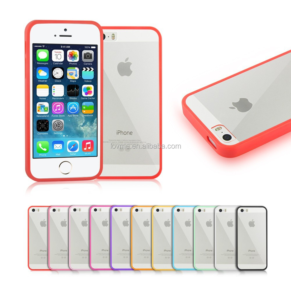 Colorful Clear Hard Back Silicone TPU Bumper Case Cover For Apple iPhone 5 5s
