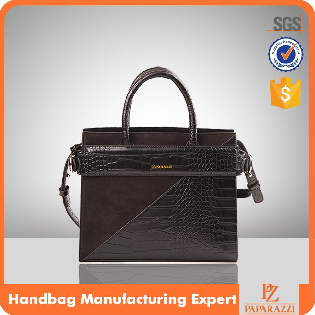 5863 Patchwork Suede and Crocodile PU Material Latest Design Ladies Paparazzi Brand Hot Selling Handbag