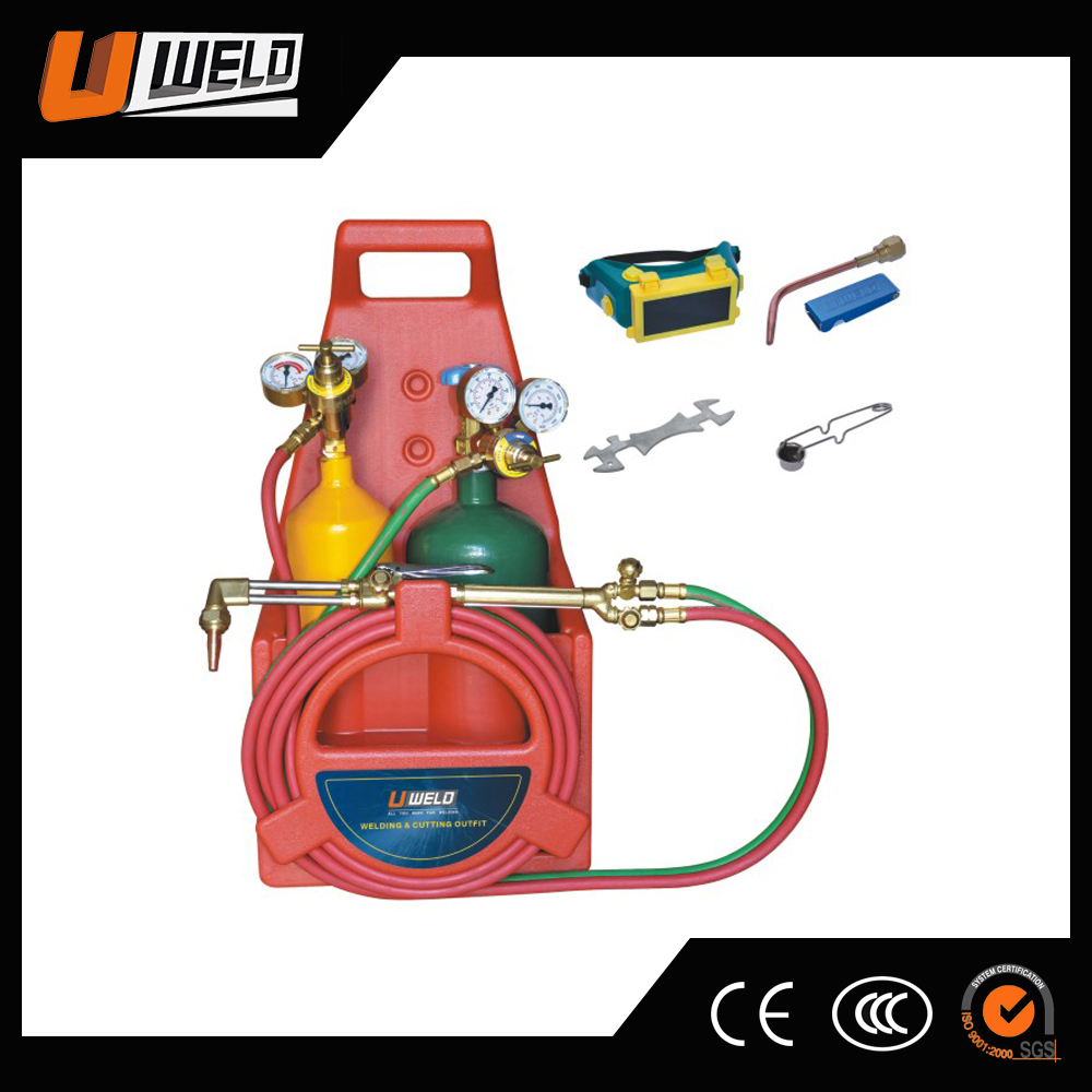 UWELD UW-1515 Portable Twin Tote Oxygen Acetylene Victor Style Welding Cutting Torch Set