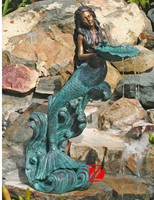 Bronze mermaid water fountain for hotel decor