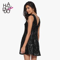 Women Black Sequines Deep V Back Mini A Line Dress Sleeveless Slim Party Dresses for Wholesale Haoduoyi