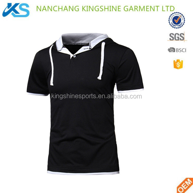 Wholesale fashion 100% cotton single jersey plain blank Gym fit short sleeve mens hoodie