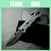 Folder Knife Matte Finish Aluminum Alloy Handle Point W/ Clip