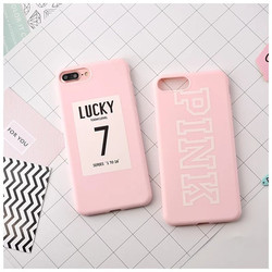 Candy Pink LUCKY 7 Print Pattern TPU Soft Silicone Phone Cover Case for iPhone 6Plus/7Plus