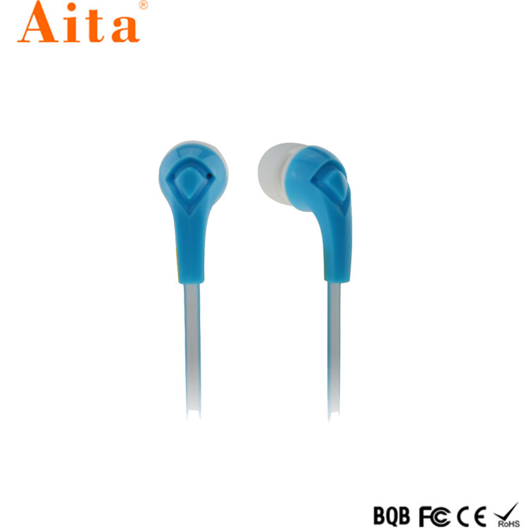 Hot sales good quality in-ear stereo flat cable wired earphone for mobile phone