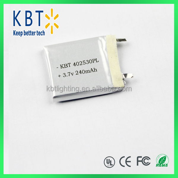 240mAh 402530PL 3.7V Rechargeable Li-ion Lithium Polymer <strong>Battery</strong>