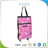 JEYCO BAGS Wenzhou factory custom foldable vegetable shopping trolley bag with brand name printed