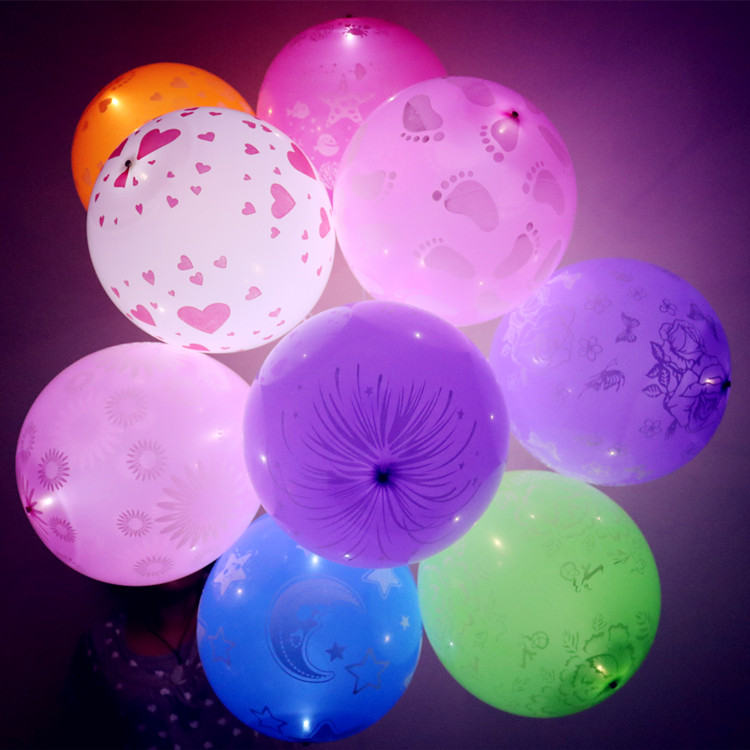 Party Decoration Colored 12'' Latex LED Balloons