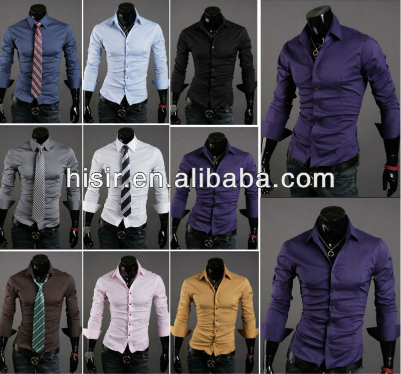 New Mens Luxury Stylish Casual Dress Slim Fit Shirts 10 Colours 4 Size