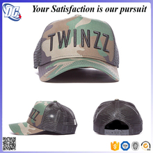 Mens desiger camo puff raised embroidery 3d trucker cap