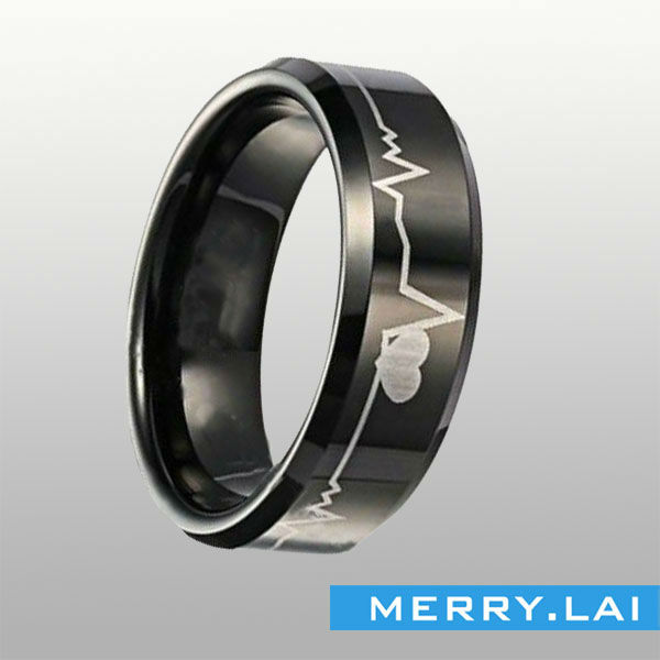 Trendzone stainless-steel ring, black PVD, antiallergic