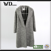 2016 elegant big dress style grey wool lady's coat
