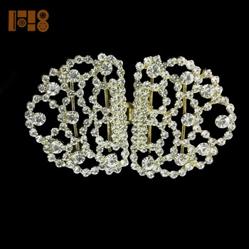 China wholesale websites glod plated crystal rhinestone pair belt buckles for women