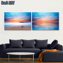 Natural Seascape Scenery Print Sunrise Day Break Canvas Group Paintings For Home Living Room