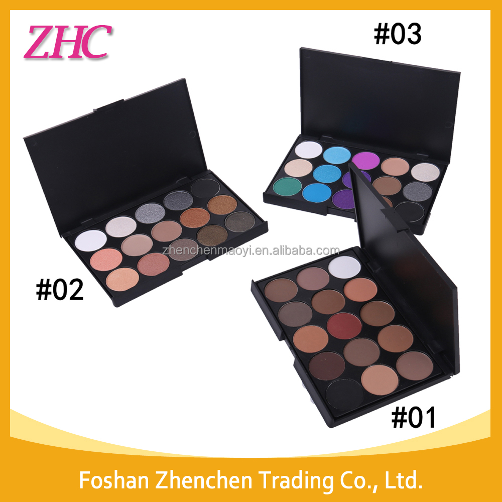 high quality private label cosmetics all black box 15color eyeshadow palette nake color palette Ebay hot sale