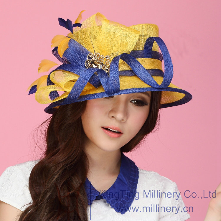 Summer Abaca Sinamay vintage feather hats For Women For Fashion Place , Adjustable Sweatband