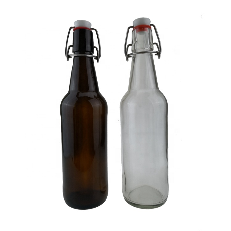 Swing top cap sealing type amber 500ml beer glass bottle wholesale in stock