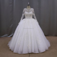 KY602 Long sleeve lace pattern ball gown real picture of wedding dress for bridal