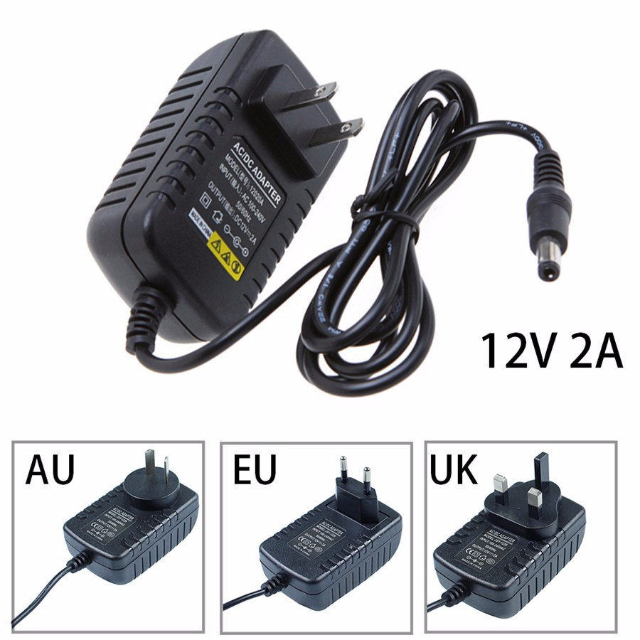 2A AC100-240V to DC 12V 2A power adapter for led strip LCD CCTV US/EU plug 12V Power Transformer