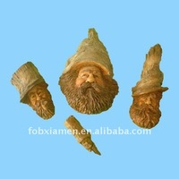 Tree gnome resin carving head forest faces