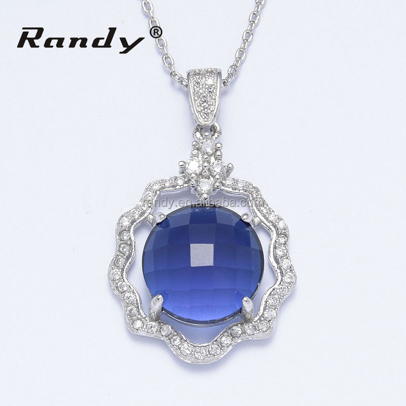 Women Wedding Jewelry Girl Necklace Pendant Silver Rolo Chain