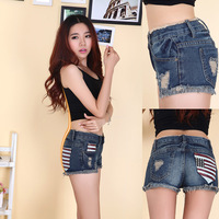 Summer denim shorts female was thin dark blue jeans shorts summer tide burr hole in the pocket American flag Pants Trousers