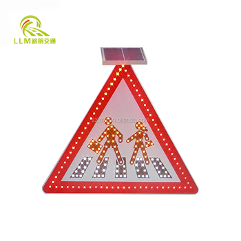 Led Flashing Sign Signal Road Powered Solar Traffic Light