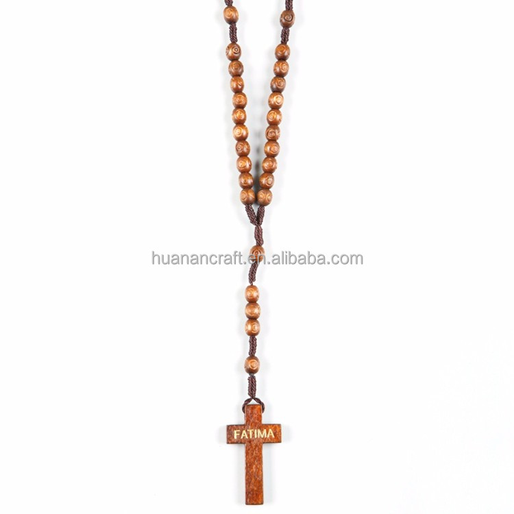 Huanan Good Promotion Gift Jesus Cross natural olive wood beads rosary